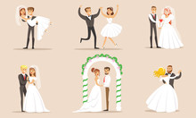 Elegant Romantic Just Married Couples Set, Newlywed Bride And Groom At Marriage Ceremony Vector Illustration