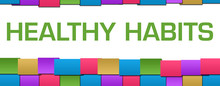 Healthy Habits Colorful Blocks Grid Background Text