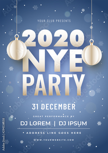 Fototapeta 2020 Nye Party Invitation Card Design With Hanging Paper Cut Baubles And Event Details On Blue Bokeh Snowfall Background