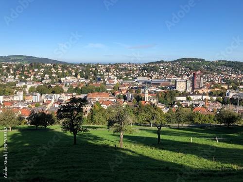 Fototapeta View of the city from Three Ponds recreation area - St. Gallen, Switzerland obraz na płótnie