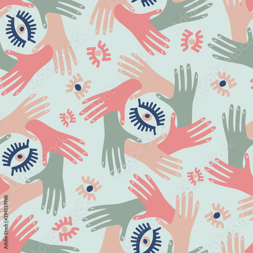 Stampa su Tela  Seamless pattern with squares icon element with hands