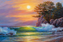 Sunset Over Sea, Painting By O...