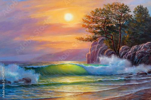 zachod-slonca-nad-morzem-malarstwo-olejne-na-plotnie-fala-morska