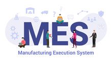 Mes Manufacturing Execution System Concept With Big Word Or Text And Team People With Modern Flat Style - Vector