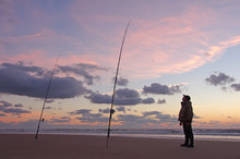 Surf Fisherman Waiting For Fis...