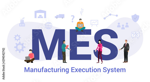 mes manufacturing execution system concept with big word or text and team people Wallpaper Mural