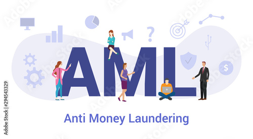 aml anti money laundering concept with big word or text and team people with mod Canvas Print