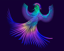 Colored, Bright Bird On A Purple Background, Abstraction With Lines, Vector Illustration, 4k