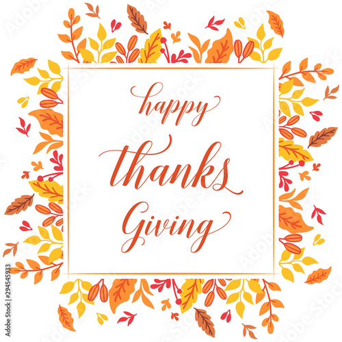 Staande foto Retro sign Lettering poster of thanksgiving, with beautiful autumn leaf flower frame. Vector