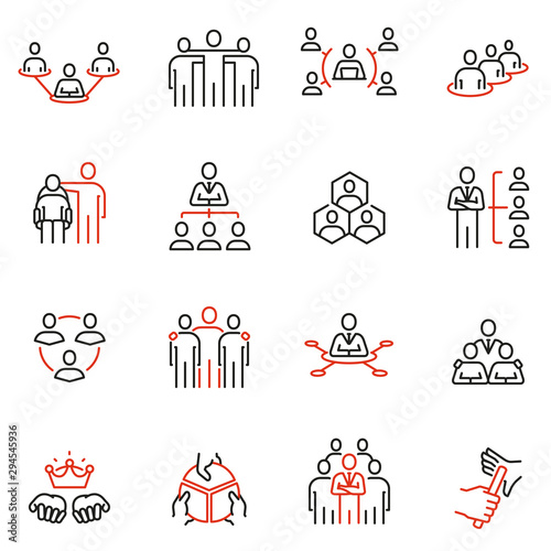 Vector set of linear icons related to Company Organization Structure, Human Resource Management and Succession Canvas Print