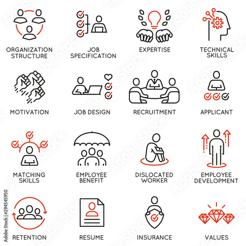Fotografía  Vector set of linear icons related to engagement employee, employability skills, human resource management