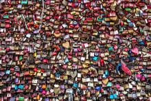 Love Locks On The Hohenzollern Bridge At Cologne In Germany