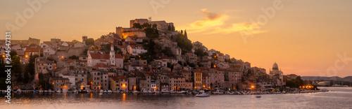 Recess Fitting Mediterranean Europe Sibenik, North Dalmatia, Croatia-panorama of the old town