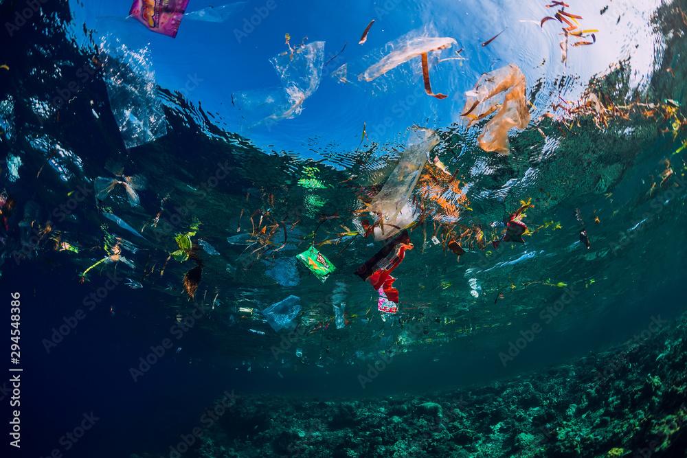 Fototapeta Underwater ocean with plastic and plastic bags, ecological problem