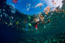 Underwater Ocean With Plastic ...