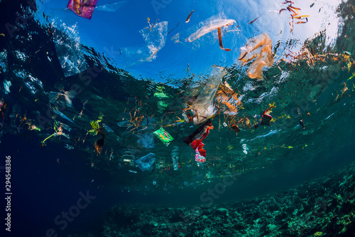 Underwater ocean with plastic and plastic bags, ecological problem - 294548386