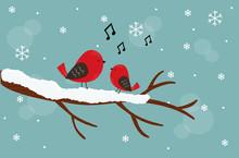 Sfondo Di Natale, Uccellini Fe...