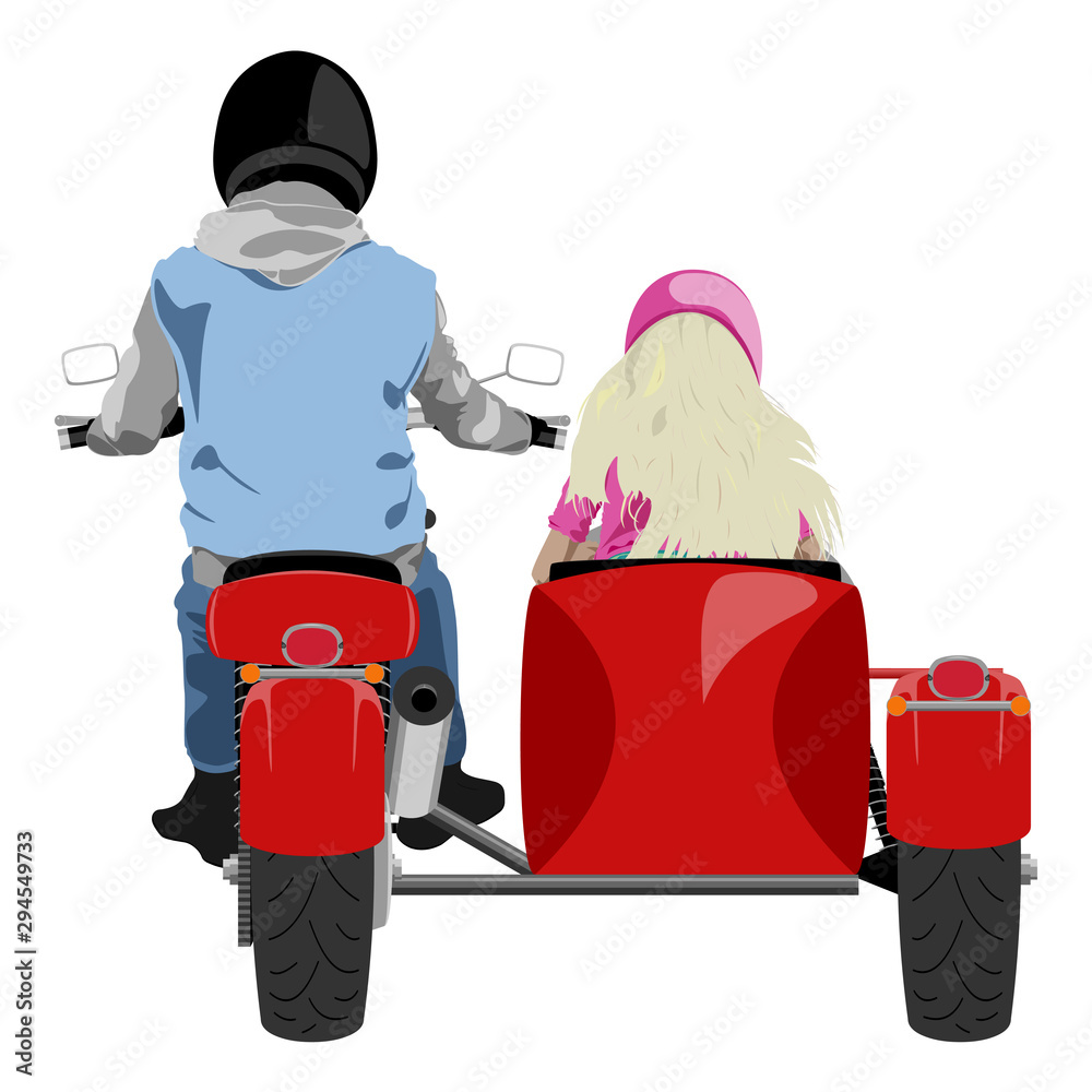 Fototapeta Classic sidecar motorcycle with rider and blond hair girl passenger back view isolated on white vector illustration