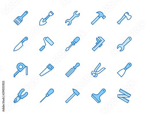 Construction tools flat line icons set Canvas Print