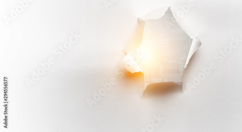 Effect of torn paper hole Canvas Print