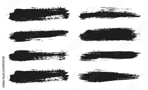 Obraz Brush lines set. Vector black paint, ink brush stroke. Dirty artistic design element. Black ink painbrush dash. Grunge drawing stroke. Frame or background for text. Vector set - fototapety do salonu