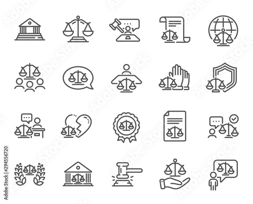 Obraz Court line icons. Scales of Justice, Lawyer and Judge. Hammer, Law and Petition document set icons. Judgment, justice, court injunction. Gavel judge hammer, rulings, presiding officer. Vector - fototapety do salonu