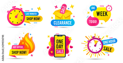 Obraz Sale timer badges. Last minute banner, one day sales and hot offer stickers. Clearance sale promotions, best deal badge, happy hours promo icon. One week to go countdown. Vector icons set - fototapety do salonu
