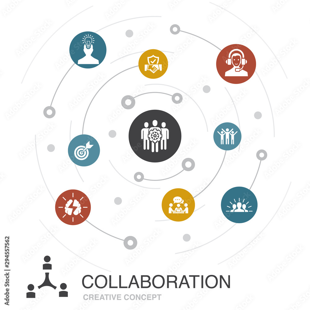 Fototapeta collaboration colored circle concept with simple icons. Contains such elements as teamwork, support, communication