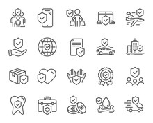 Insurance Line Icons. Health Care, Risk, Help Service. Car Accident, Flood Insurance, Flight Protection Icons. Safety Document, Money Savings, Delivery Risk. Car Full Coverage. Vector