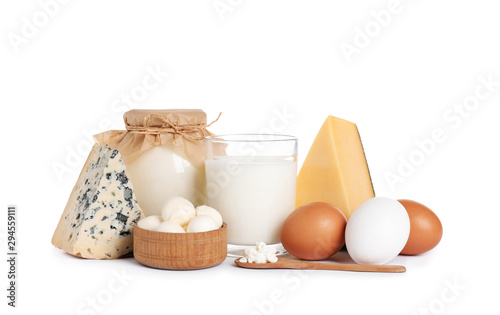 Fotomural Set of different dairy products isolated on white