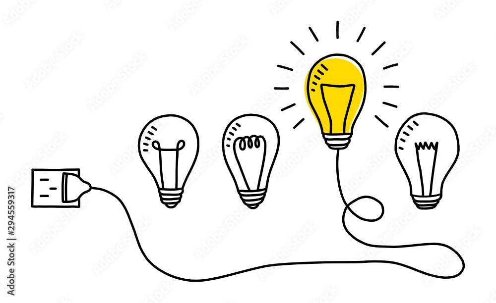 Fototapety, obrazy: Hand drawn light bulbs. Creative idea