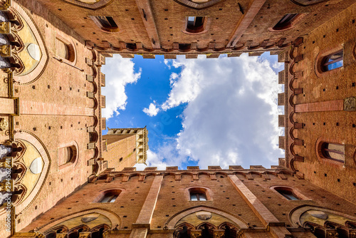 Siena - View from inside the Palazzo Pubblico at Piazza del Campo - old historic Fototapeta
