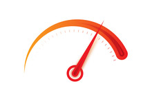 Orange And Red Speedometer Dial Illustration