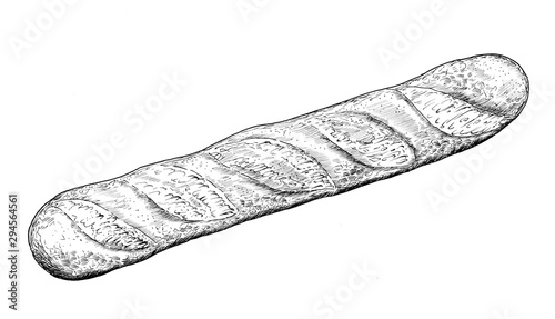 Baguette - drawing of bakery products - hand sketch of bread. Wallpaper Mural