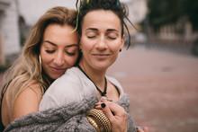 Hugging Romantic Womem Gay Cou...