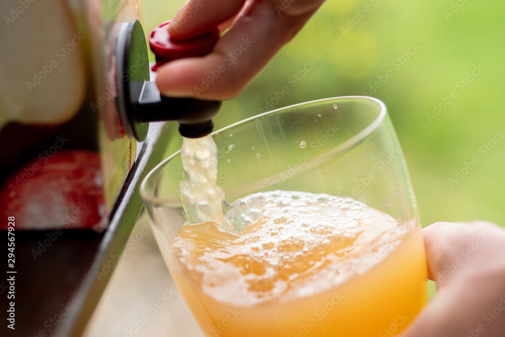 Fototapeta Vacuum boxed apple juice being poured into a glass.