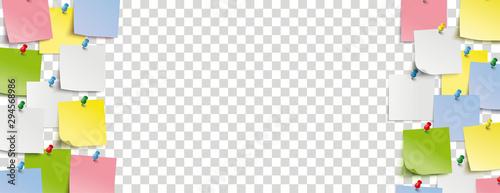 Bunte Klebezettel auf einem transparenten Hintergrund Tapéta, Fotótapéta