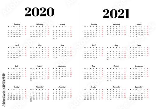 Fototapeta Calendar 2020, 2021 year. obraz na płótnie