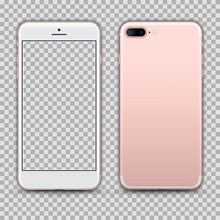 Realistic Rosegold Smartphone With Transparent Screen Isolated On Background. Front And Back View For Print, Web, Application. Detailed Device Mockup Separated Groups And Layers. Editable Vector