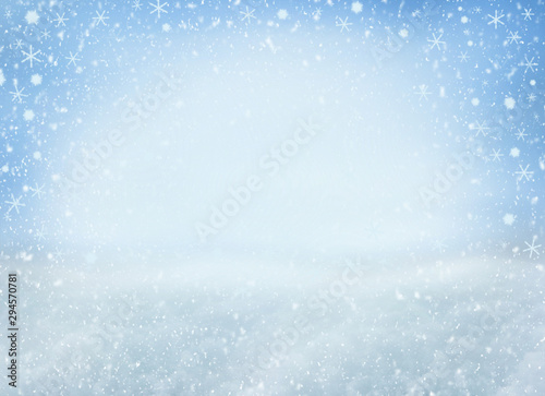 Foto auf AluDibond Licht blau Winter Christmas background with falling snowflakes. Background for design with copy space