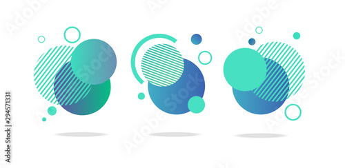Set of round abstract badges, icons or shapes in mint, green and blue colors Wallpaper Mural