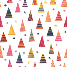 Abstract Colorful Christmas Trees Seamless Vector Background. Decorative Hand Drawn Repeating Winter Holiday Pattern For Holiday Decoration, Greeting Cards, Digital Scrapbooking, Kids Decor, Gift Wrap