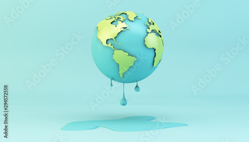Fotografía melting earth on blue background