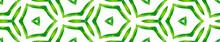 Green Kaleidoscope Seamless Border Scroll. Geometr