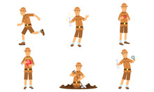 Vector Illustration Set Of Archaeologist Character Actions Isolated On White Background