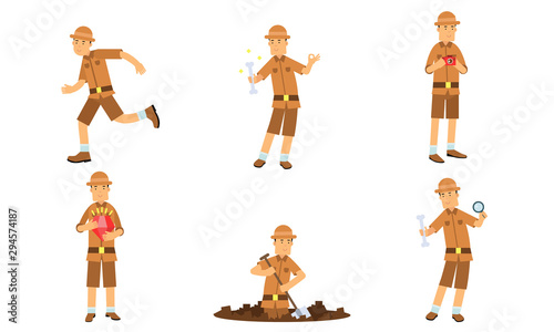 Photo Vector Illustration Set Of Archaeologist Character Actions Isolated On White Bac