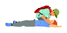 Boy Helps Friend In Unconscious Drowning. Car Accident Victim. Paramedic Rescue Patient First Aid Vector Illustration. Sneak Attack Rescue Team. Fire Victim Evacuation. Health Care Training Dead Body.