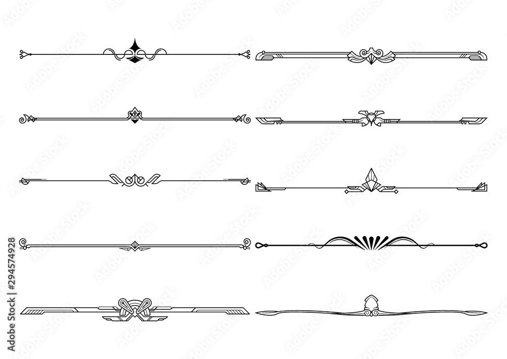 Fototapeta Set of dividers in border, vector decorative design elements