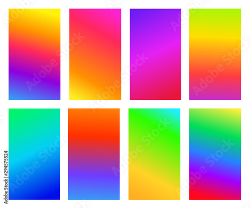 Fotografie, Obraz  Set of abstract gradient colored background