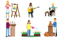 Men And Women Do Their Favorite Things. Vector Illustration.